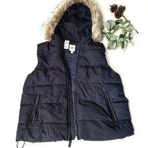 Gap Blue Insulated Vest Faux Fur Size Large